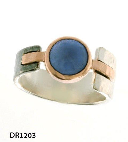Sterling Silver, 9K Gold, African Sapphire  Ring