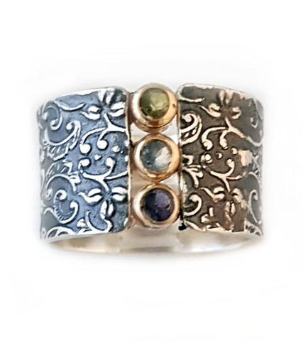 Sterling Silver, 9K Gold, Iolite, Blue Topaz, Peridot Ring