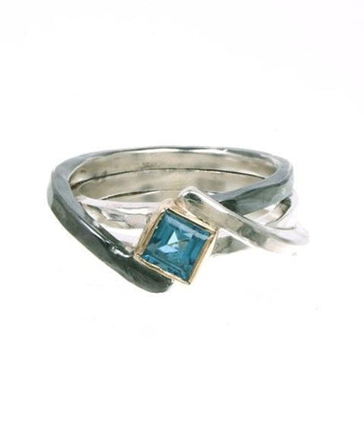 Sterling Silver, 9K Gold, Blue Topaz Ring