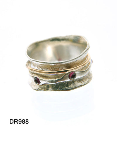 Sterling Silver, Gold Filled, Garnet Ring