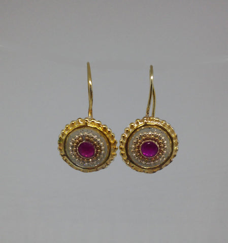 Sterling Silver, Gold Filled Hook, 14K Gold Plating, Synthetic Ruby, Resin Earrings