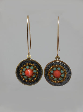 Sterling Silver, Gold Filled Hook, Brass, Gold Plating, Swarovski Crystal, Coral, Resin Earrings