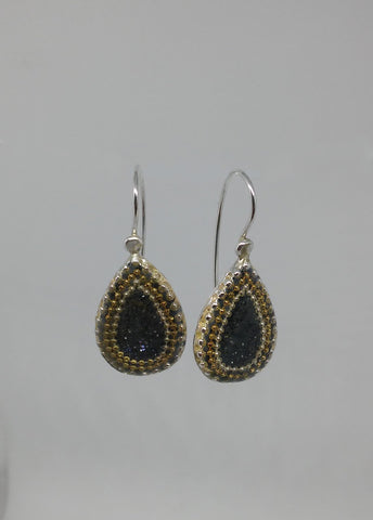 Sterling Silver, Golden Dots, Resin Earrings