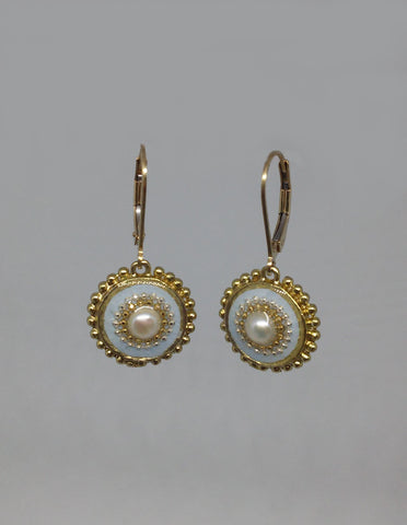 Gold Filled Hook, Brass, Sterling Silver, Pearl, Resin Earrings