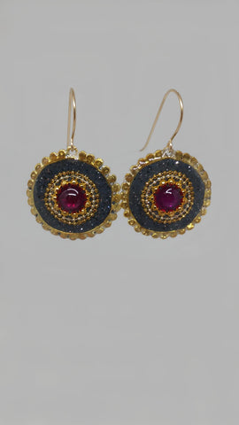 Sterling Silver, Gold Filled Hook, Synthetic Ruby, Brass, Resin Earrings