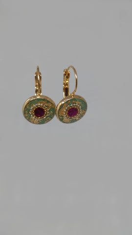 Gold Filled Hook, 14K Gold Plating, Gold Leaves, Synthetic Ruby, Resin Earrings