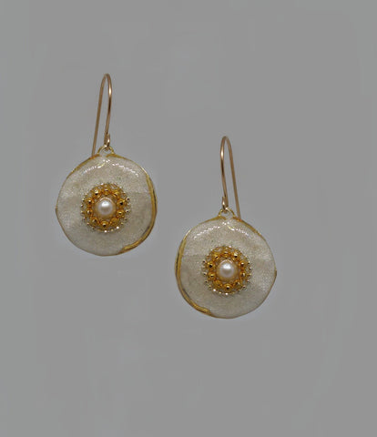 Sterling Silver, Gold Filled Hook, Pearl, Gold Dots, Resin Earrings
