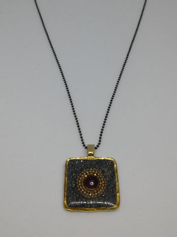 Sterling Silver, Gold Filled 14K Gold Plating, , Synthetic Ruby, Resin Necklace