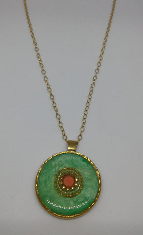 Gold Filled, Brass, Coral, Resin Necklace