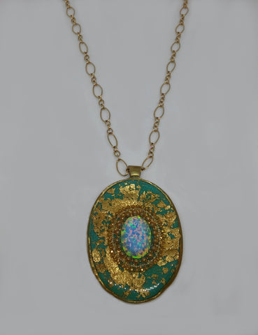 Gold Filled, Brass, Opal, Gold Leaves, Resin Necklace
