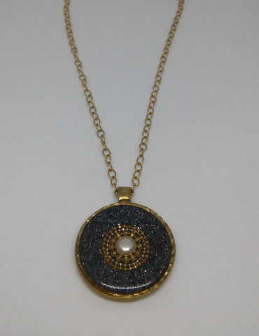 Gold Filled, Brass, Pearl, Golden Dots, Resin Necklace