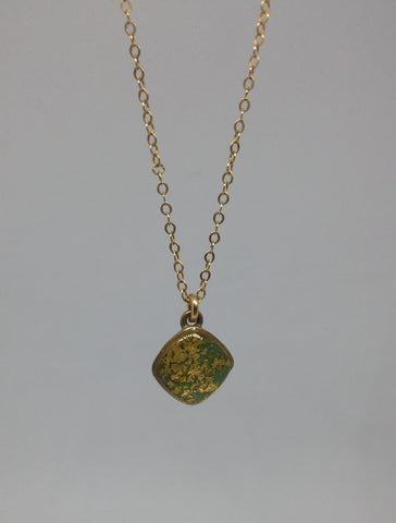 Sterling Silver, Gold Filled Chain, Brass, Sterling Silver, Gold Leaves, Resin Necklace