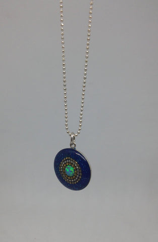 Sterling Silver, Golden Dots, Opal, Resin Necklace