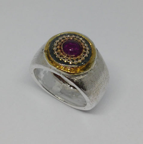Sterling Silver, 14K Gold Plating, Synthetic Rose, Resin Ring
