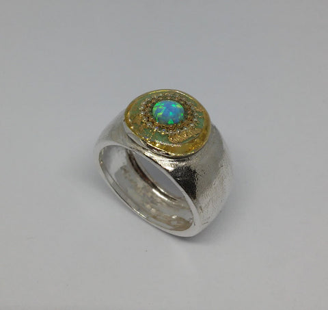 Sterling Silver, Gold Leaves, Golden Dots, Opal, Resin Ring