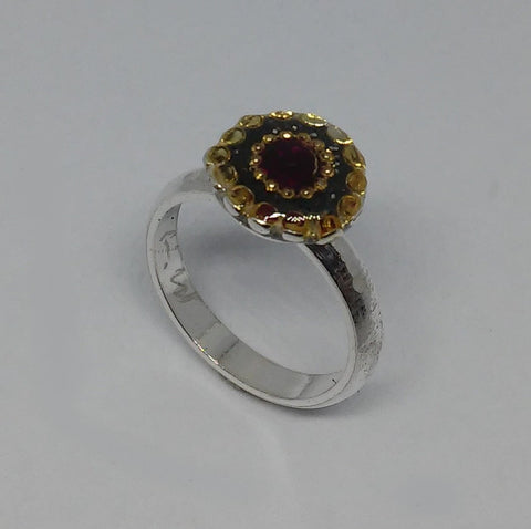 Sterling Silver, Synthetic Ruby, Golden Dots, Resin Ring