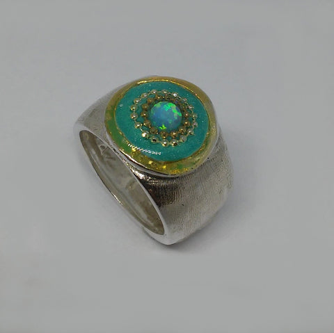 Sterling Silver, Opal, Golden Dots, Resin Ring