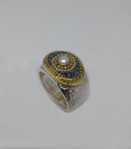 Sterling Silver, Pearl, Golden Dots, Resin Ring