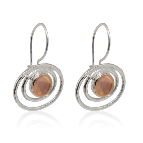Sterling Silver, 9K Rose Gold Earrings