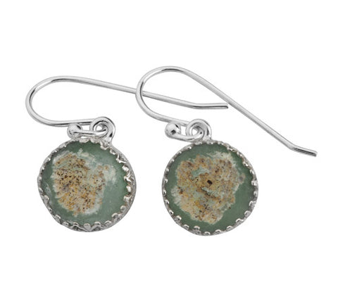 Sterling Silver, Roman Glass Earrings
