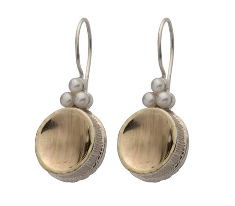 Sterling Silver, 9K Gold, Pearl Earrings