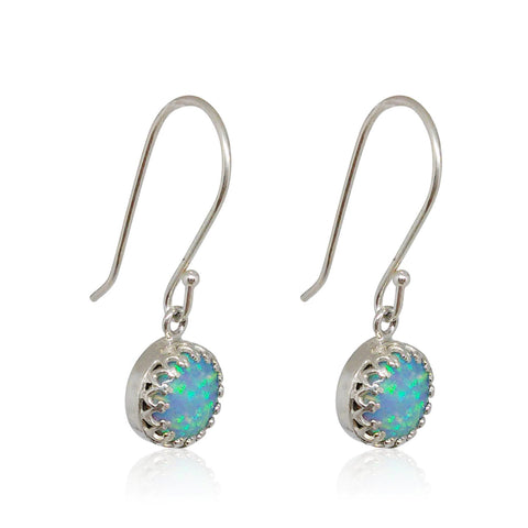 Sterling Silver, Opal Earrings (Hook)