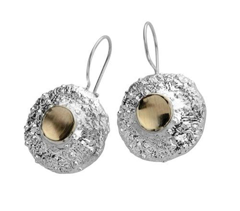 Sterling Silver, 9K Gold Earrings