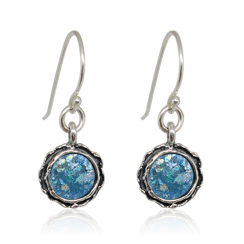 Sterling Silver, New Roman Glass Earrings