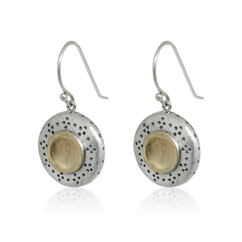 Sterling Silver, 9K Yellow Gold Earrings