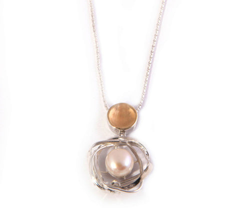 Sterling Silver, 9K Gold, Pearl Necklace