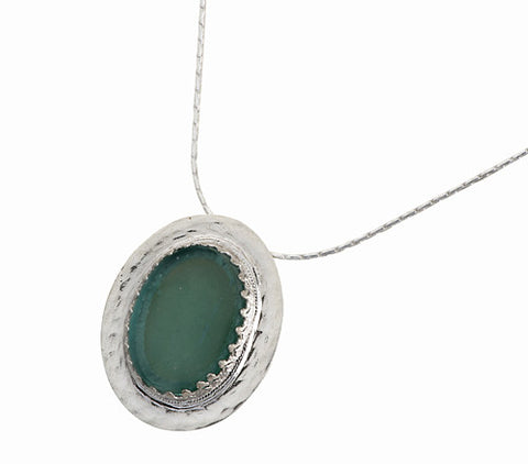 Sterling Silver, Roman Glass Necklace