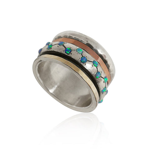 Sterling Silver, 9K Gold, Opal Ring