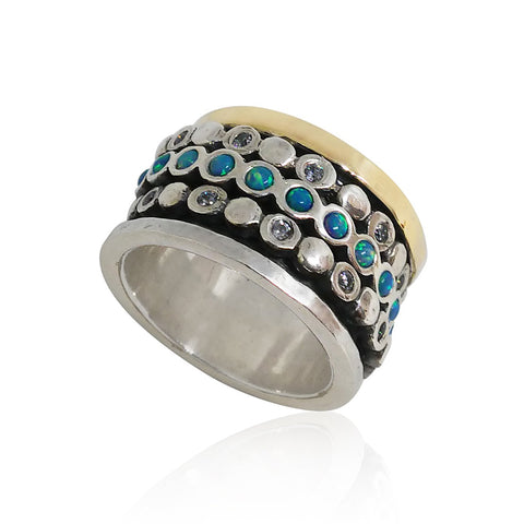 Sterling Silver, 9K Gold, Cubic Zirconia, Opal Ring