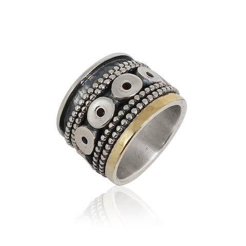 Sterling Silver, 9K Gold, Garnet Ring