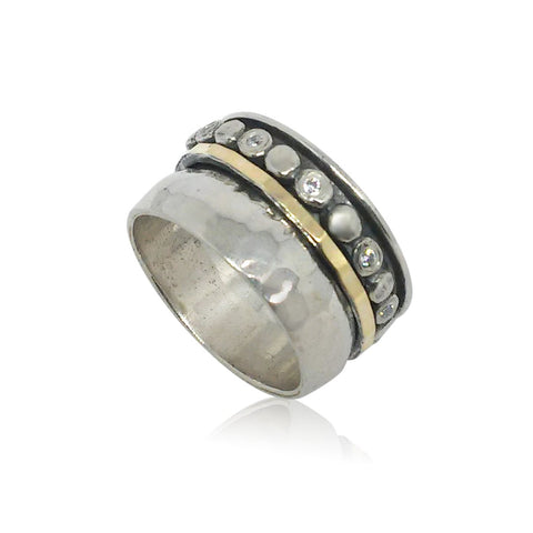 Sterling Silver, Cubic Zirconia, 9K Gold Ring