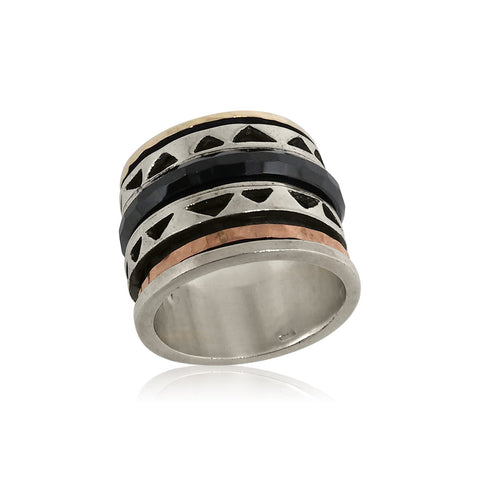 Sterling Silver, 9K Gold (mix), Black Ceramic Ring