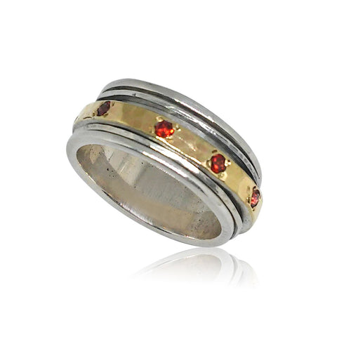 Sterling Silver, 9K Gold, Garnet Ring (NO)