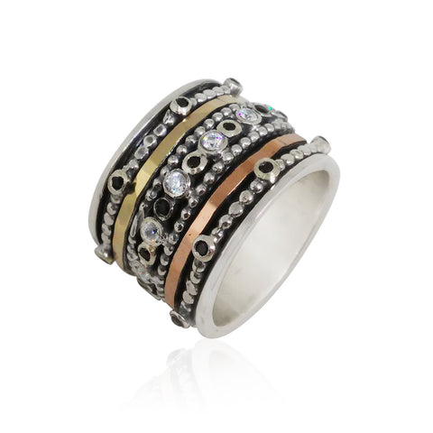 Sterling Silver, 9K Gold, Cubic Zirconia, Black Spinel Ring