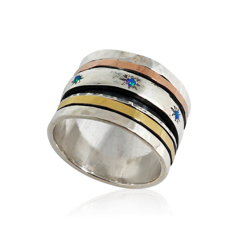 Sterling Silver, 9K Gold (Mix), Opal Ring