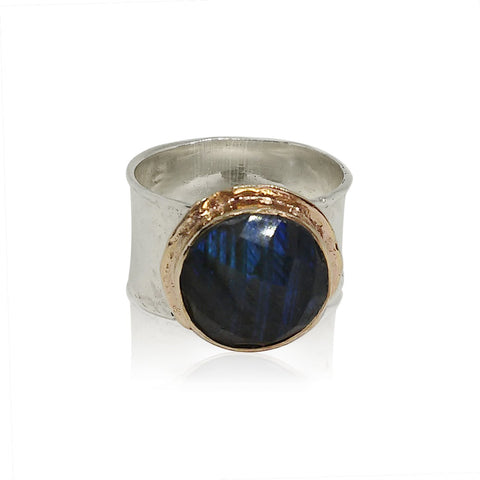 Sterling Silver, 9K Gold, Labradorite Ring