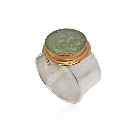 Sterling Silver, 9K Gold, Roman Glass Ring