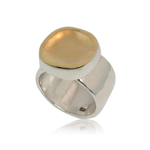 Sterling Silver, 9K Yellow Gold Ring