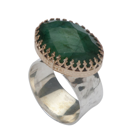Sterling Silver, Gold Filled, Emerald Ring