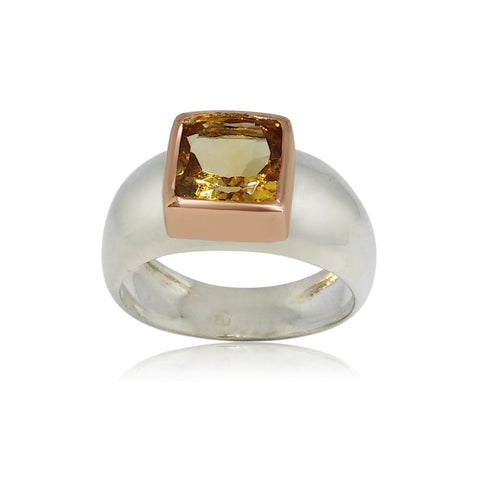 Sterling Silver, 9K Gold, Citrine Ring
