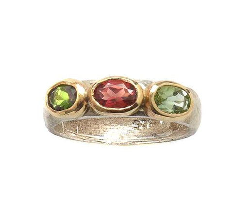 Sterling Silver, 9K Gold, Tourmaline Ring