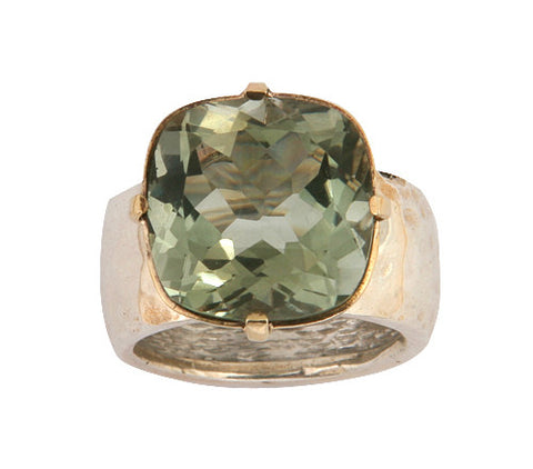 Sterling Silver, 9K Gold, Green Amethyst Ring