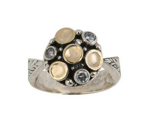 Sterling Silver, 9K Gold, Cubic Zirconia Ring