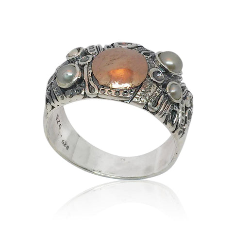 Sterling Silver, 9K Rose Gold, Pearl Ring