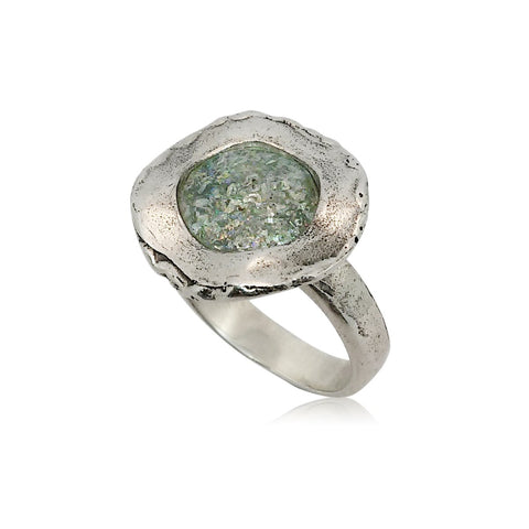 Sterling Silver, Roman Glass Ring