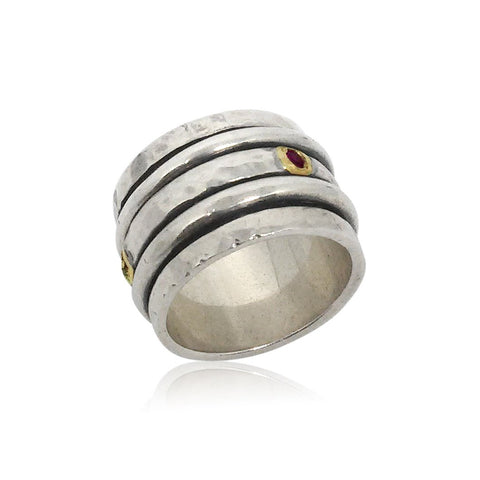 Sterling Silver, 9K Gold, Ruby Ring